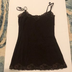 Forever 21 XXI brown cami with lace trim small